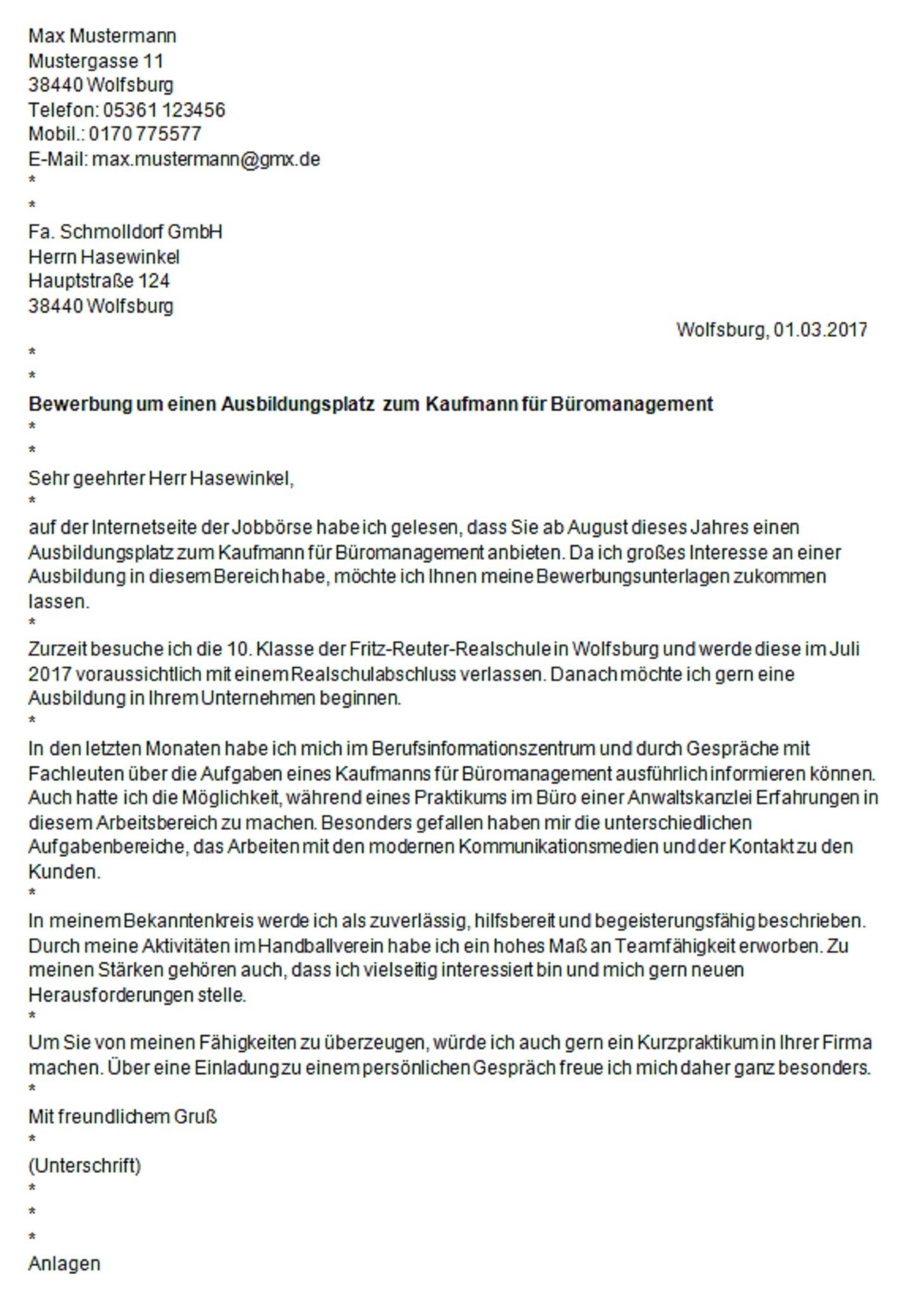 wob4u.de | JUGENDSERVER WOLFSBURG: Die schriftliche Bewerbung